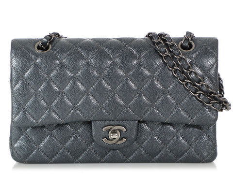 Chanel Medium/Large Iridescent Gray Quilted Caviar Classic Double Flap