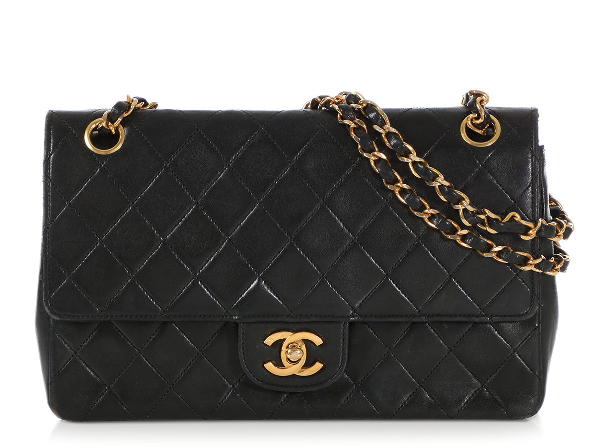 Chanel Medium Vintage Black Lambskin Flap