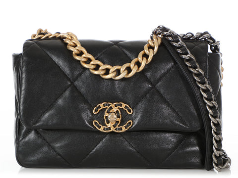 Chanel 19 Black Quilted Goatskin Flap Bag