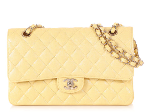 Chanel Medium/Large Iridescent Yellow Quilted Caviar Classic Double Flap