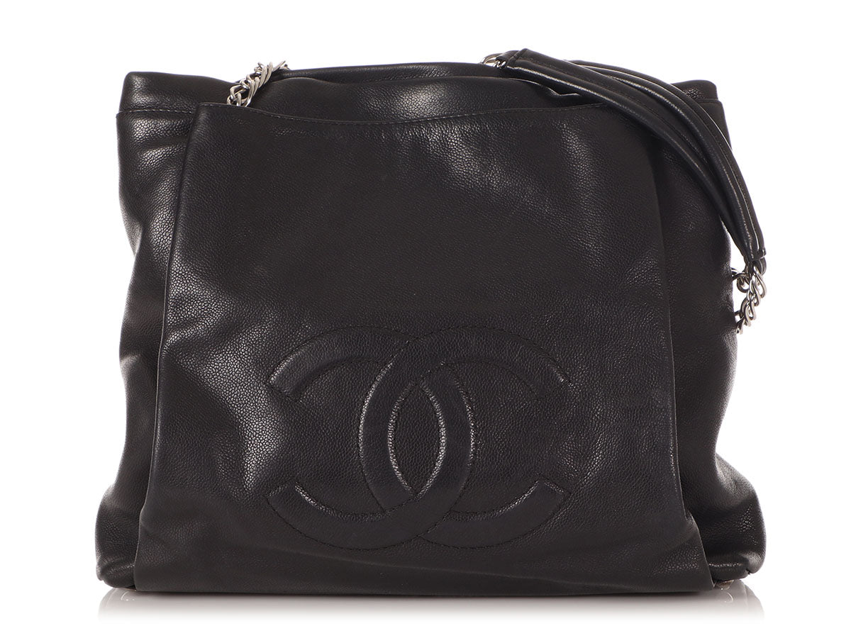 Chanel Black Caviar Timeless CC Pleated Tote