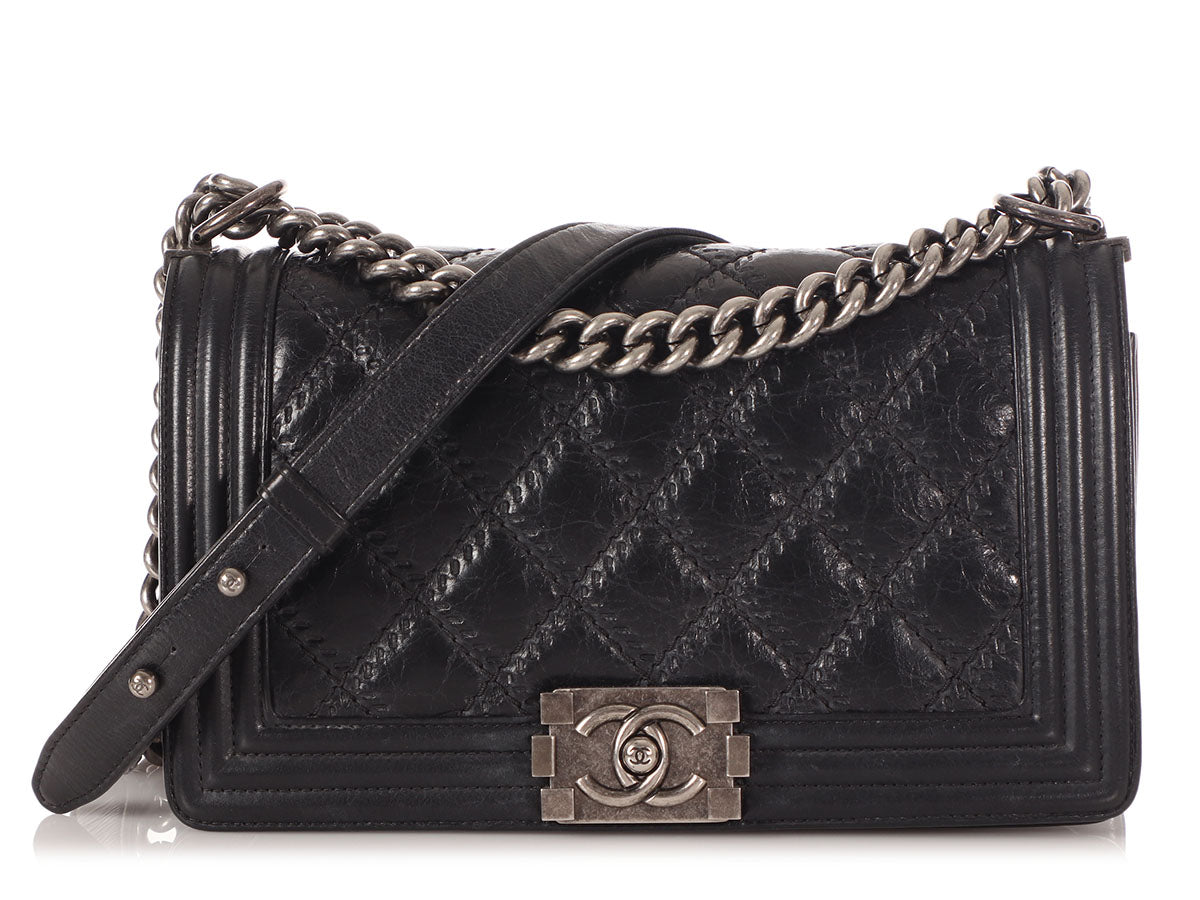Chanel Old Medium Black Double Stitch Quilted Distressed Calfskin Boy Bag