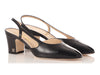 Chanel Black Capped-Toe Slingback Pumps