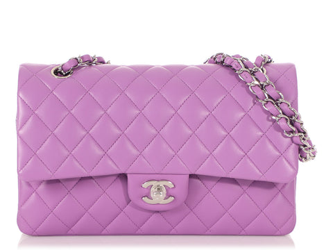 Chanel Medium/Large Lilac Quilted Lambskin Classic Double Flap
