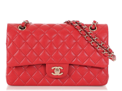 Chanel Medium/Large Red Quilted Caviar Classic Double Flap