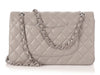 Chanel Medium/Large Gray Quilted Lambskin Classic Double Flap