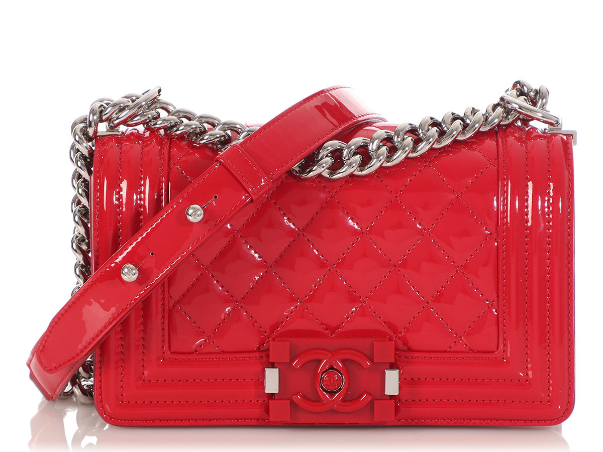 Chanel Small Red Quilted Patent Boy Bag
