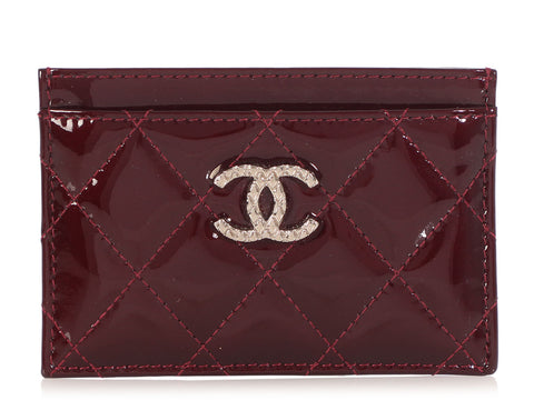 Chanel Burgundy Quilted Puffy Patent Card Case