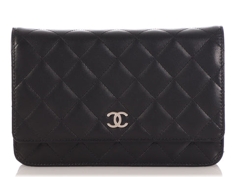 Chanel Black Quilted Lambskin Wallet on a Chain WOC