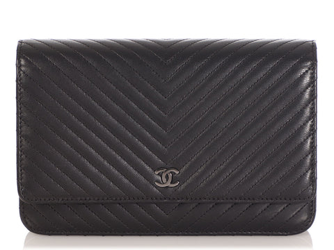 Chanel So Black Chevron-Quilted Lambskin Wallet on a Chain WOC