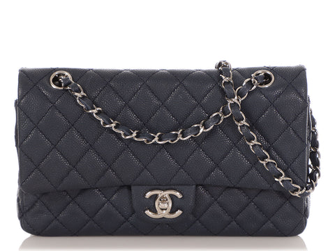 Chanel Medium/Large Marine Foncé Soft Caviar Classic Double Flap