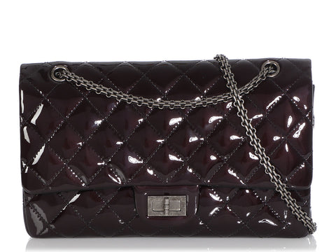 Chanel Dark Eggplant Quilted Patent Reissue 227