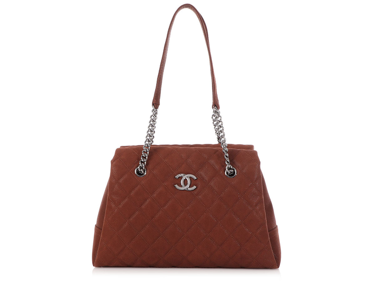 Chanel Marron Iridescent Quilted Soft Caviar Lady Pearly Tote