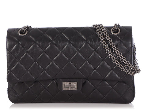 Chanel Black Quilted Distressed Calfskin Reissue 226