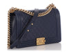 Chanel New Medium Navy Quilted Lambskin Boy