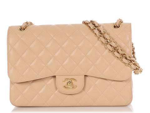 Chanel Jumbo Beige Clair Quilted Caviar Classic Double Flap