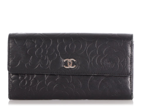 Chanel Black Camellia Yen Wallet