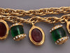 Chanel Vintage Red and Green Gripoix Charm Bracelet