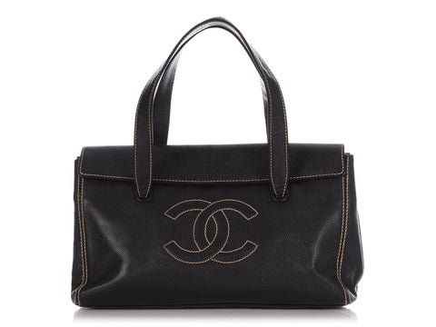 Chanel Black Caviar Stitched Logo Bag