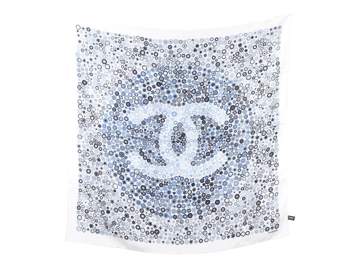 Chanel White and Blue Logo Silk Scarf