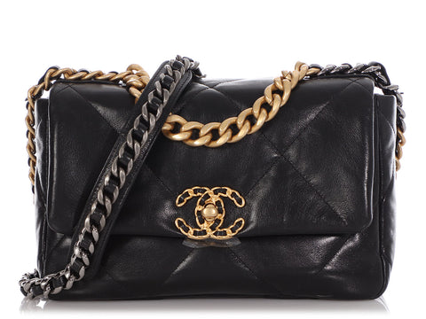 Chanel 19 Black Quilted Goatskin Bag
