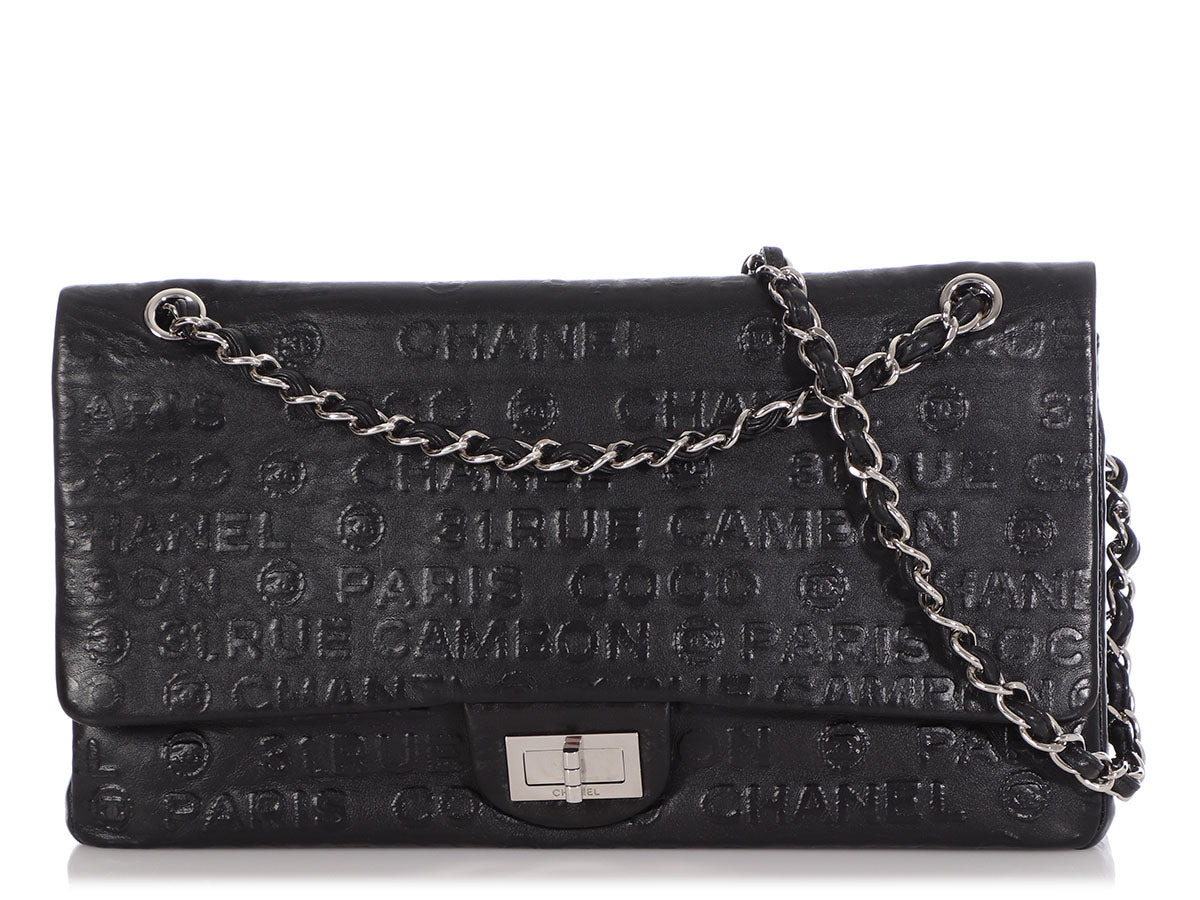 Chanel Maxi Black Logo-Embossed Calfskin Paris-Moscow Double Flap