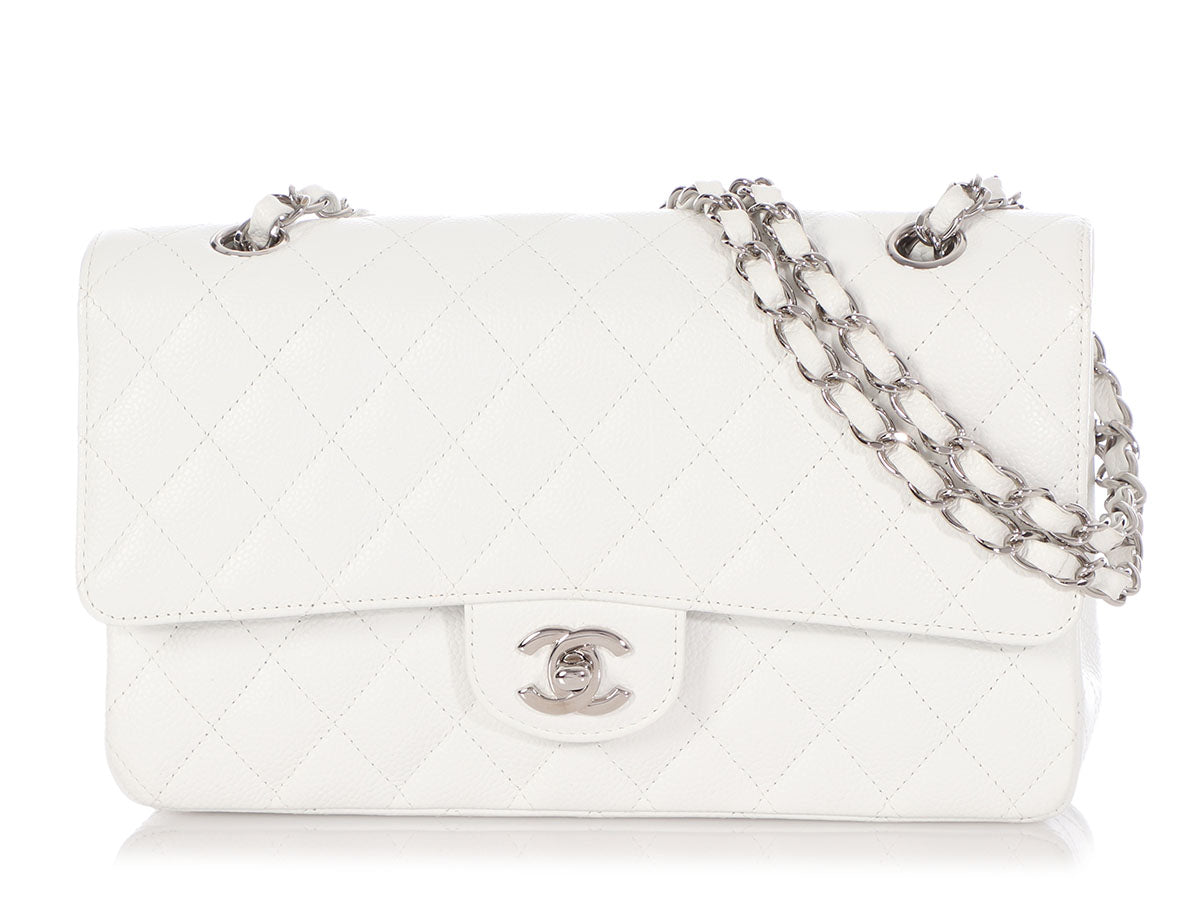 Chanel Medium/Large White Quilted Caviar Classic Double Flap