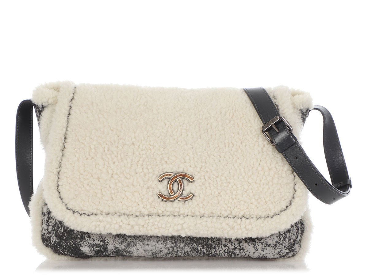 Chanel Large Gray and Ivory Shearling Flap