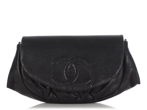 Chanel Black Caviar Half-Moon Wallet on a Chain WOC