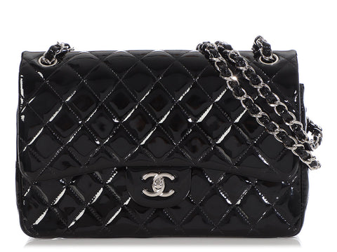 Chanel Jumbo Black Quilted Patent Classic Double Flap