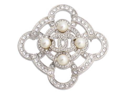 Chanel Silver-Tone Pearl and Crystal Logo Pin