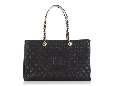 Chanel Extra Large Black Part-Quilted Caviar Grand Shopping Tote GST