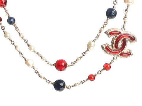 Chanel Long Gold-Tone Multicolor Resin Logo Necklace