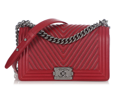 Chanel Old Medium Wine Chevron-Quilted Calfskin Embroidered Boy Bag
