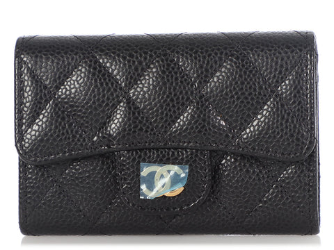 Chanel Black Quilted Caviar Flap Card Holder