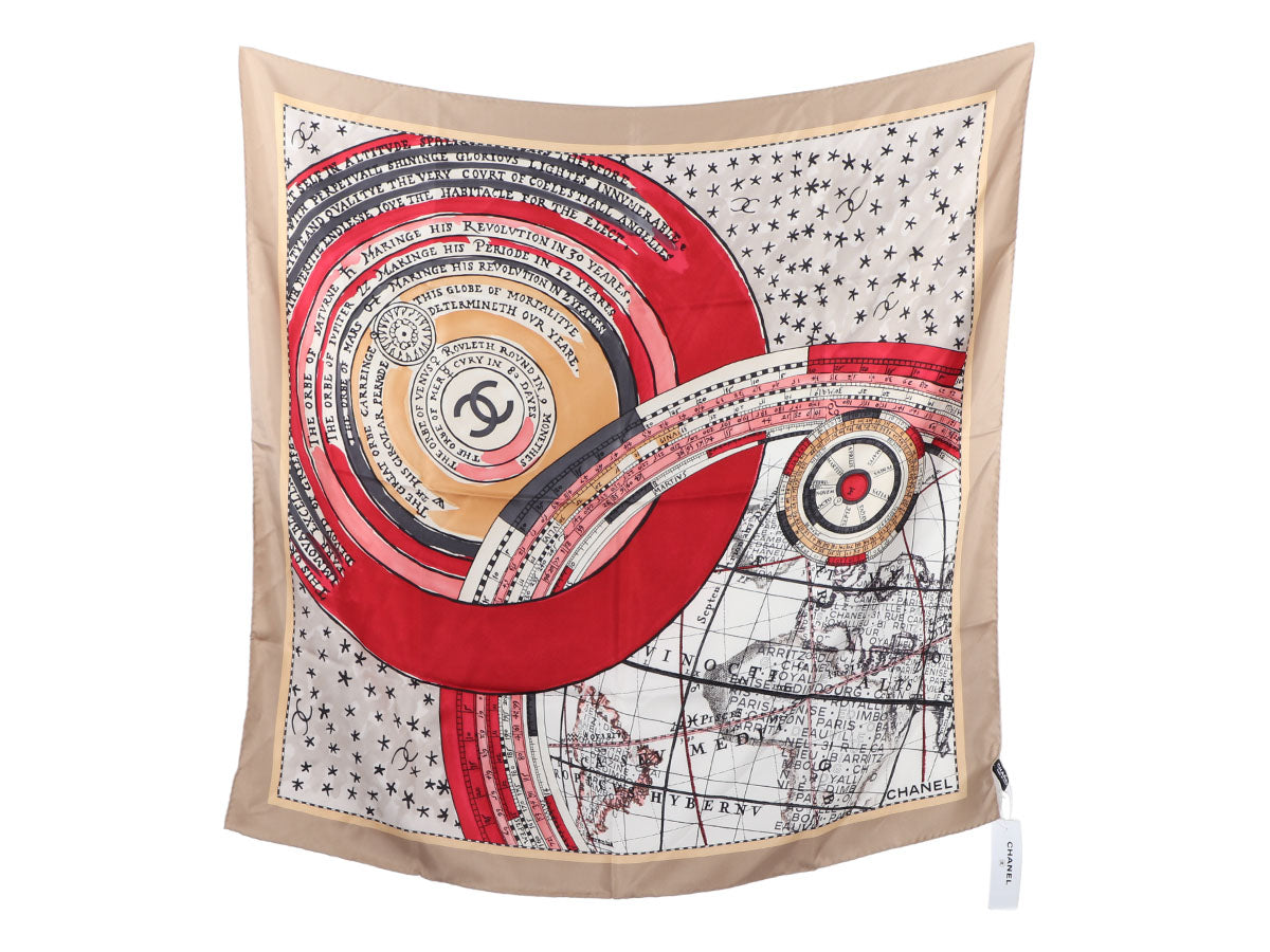 Chanel Beige Map Square Silk Scarf
