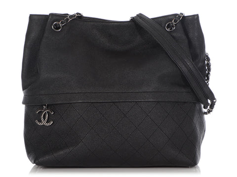 Chanel Large Black Part-Quilted Caviar Tote