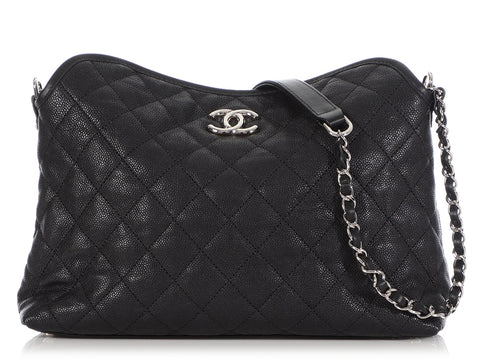 Chanel Small Black Quilted Caviar French Riviera Hobo