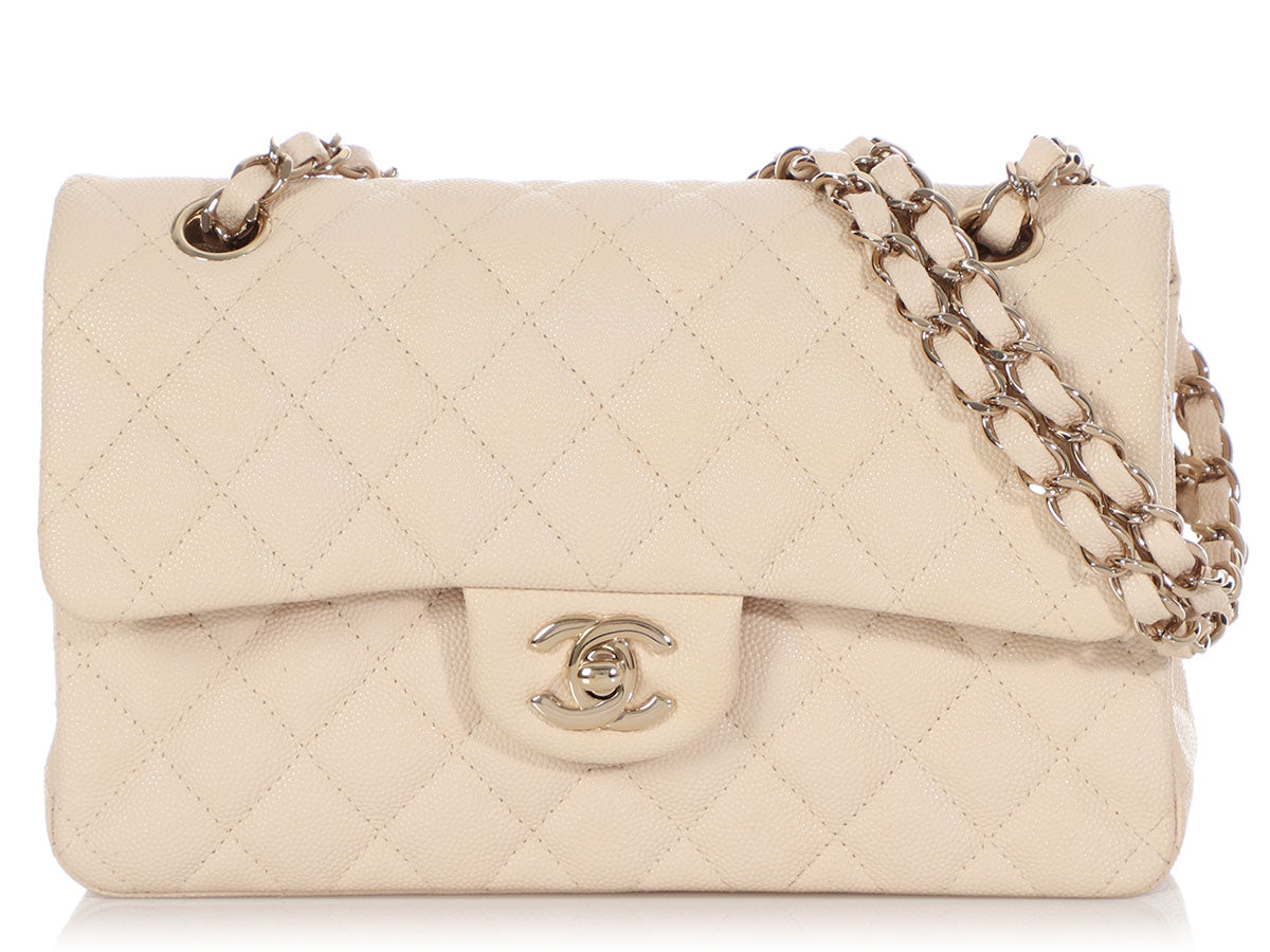 Chanel Small Light Beige Quilted Caviar Classic Double Flap