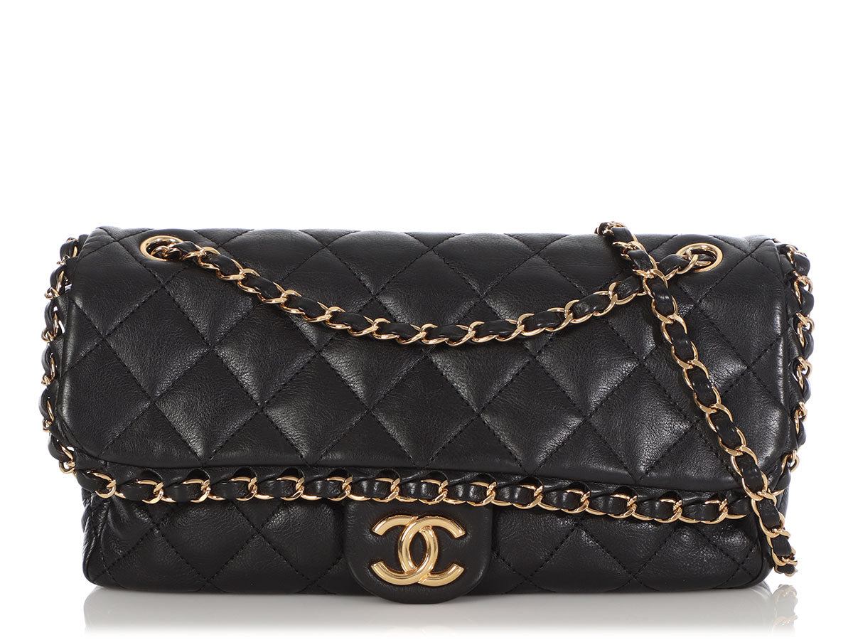Chanel Medium Black Quilted Calfskin Chain Me Flap