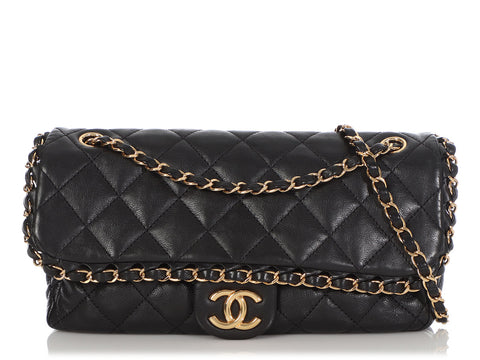 Chanel Medium Black Quilted Calfskin Chain Around Flap