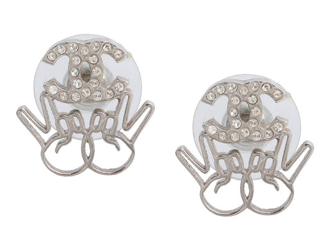 Chanel Silver-Tone and Crystal Logo Peace Sign Pierced Earrings