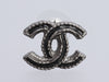Chanel Silver-Tone Black Enamel Inlay Logo Pierced Earrings