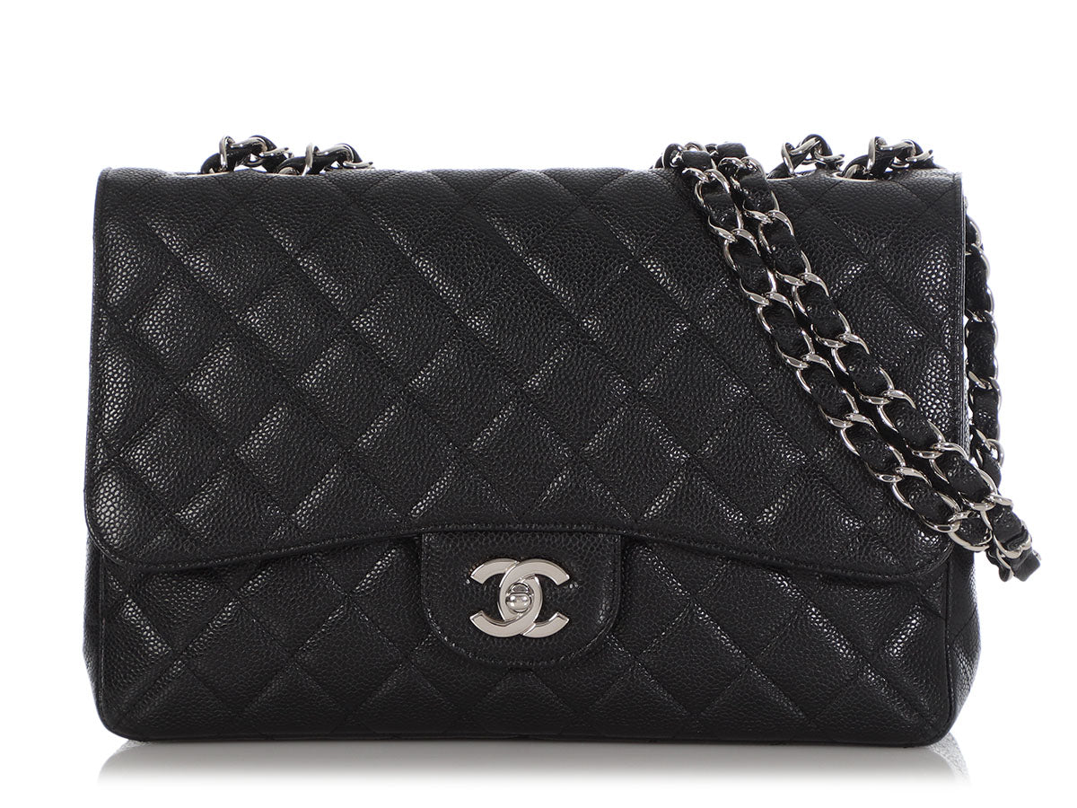 Chanel Jumbo Black Quilted Caviar Classic Single Flap