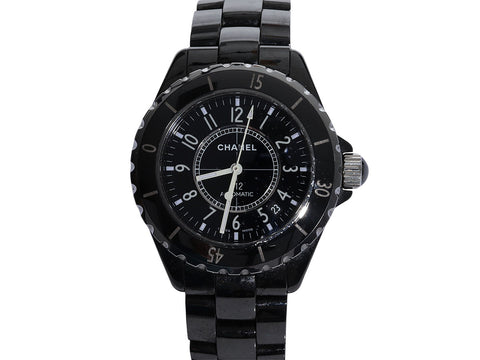 Chanel Stainless Steel and Black Enamel J12 Watch 38mm