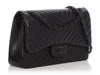 Chanel Jumbo So Black Chevron-Quilted Lambskin Classic Double Flap