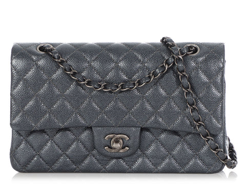 Chanel Medium/Large Metallic Gray Quilted Caviar Classic Double Flap