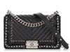 Chanel Old Medium Black Chevron-Quilted Tweed-Embellished Calfskin Boy