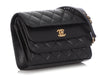 Chanel Small Black Part-Quilted Calfskin Triple Flap