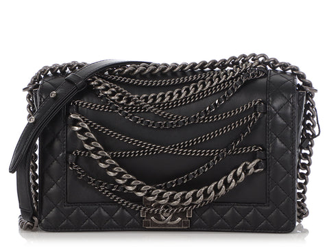 Chanel Medium Black Calfskin Enchained Boy